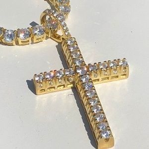14k Gold Over Solid 925 Silver Tennis ICED OUT